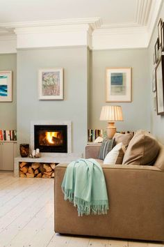 Farrow and Ball Light Blue painted walls in a modern country room with a calm feel. Farrow And Ball Living Room, Living Room Paint, Home Living Room, Living Room Designs, Living Room Decor, Blue Painted Walls, Modern Country Style, Country Decor, Country Furniture