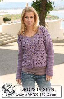 "Crochet DROPS jacket in ""Merino Extra Fine"". Size S to XXXL. ~ DROPS Design"