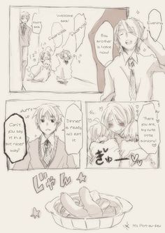 """Page 1 of 5 in a cute FACE family fancomic - Japanese original on Pixiv, translated into English by The Lost Sheep. - """"My cute little minions""""... oh, Francis."""