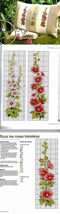 27 Ideas Embroidery Flowers Border Punto Croce For 2019 Cross Stitch Pillow, Just Cross Stitch, Cross Stitch Borders, Cross Stitch Flowers, Cross Stitch Charts, Cross Stitch Designs, Cross Stitching, Cross Stitch Patterns, Loom Patterns