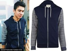 Calum Hood: Contrast Aztec Print Sleeve Hooded Sweater (River Island) Exact (Sold Out)
