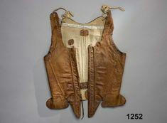 Leather stays, front. Sweden, c. 1750. DigitaltMuseum.