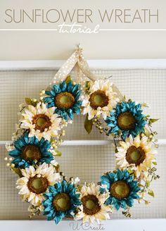 Sunflower Wreath Tutorial - u-createcrafts.com