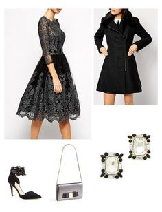 A beautiful black lace formal look with metallic finish.  A grey coat with faux fur collar you can wear over everything.  Fabulous heels and accessories.