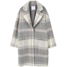 Check Wool-Blend Coat (320 BAM) ❤ liked on Polyvore featuring outerwear, coats and mango coat