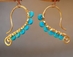 Hammered dangle earrings turquoise Luxe Bijoux 47 by CalicoJunoJewelry on Etsy https://www.etsy.com/listing/90622953/hammered-dangle-earrings-turquoise-luxe