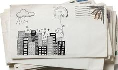 Won't be long before this is a thing of the past... snail mail envelope art, handwritten letter