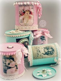 Tin Can Crafts, Jar Crafts, Diy And Crafts, Altered Bottles Tutorial, Projects For Kids, Craft Projects, Tin Can Art, Recycled Tin Cans, Shabby Chic Crafts
