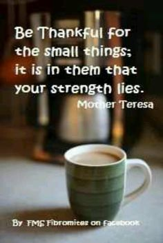 """Be thankful for the small things; it is in them that your strength lies."" ~ Mother Teresa"