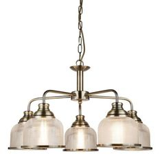 The Searchlight Bistro II Antique Brass & Rib Glass Vintage 5 Lamp Pendant is a quality indoor pendant light finished in antique brass. Buy the Searchlight from HomeLightsDIRECT, the UK's leading distributer of light fittings and fixtures. Brass Ceiling Light, 3 Light Chandelier, Chandelier Shades, Ceiling Pendant, Pendant Lamp, Pendant Lighting, Ceiling Lights, Light Pendant, Bistro