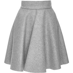 MSGM Grey Wool Blend Pleated Circle Skirt (1.585 BRL) ❤ liked on Polyvore featuring skirts, pleated skirt, gray skirt, high waisted circle skirt, flared skirt and high waisted skater skirt