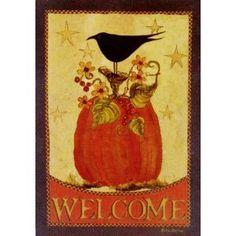 Pumpkins & Crows Folk Art Fall Garden Flag - Small X for Autumn Thanksgiving Halloween Patio Porch House School Office Hotel Yard Outdoor Banner, Etc. Primitive Painting, Primitive Folk Art, Easy Painting Projects, Craft Projects, Craft Ideas, Small Garden Flags, Flag Art, Autumn Decorating, Outdoor Banners