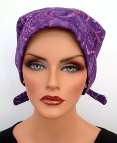 Sandra Pre-Tied Scarf - Purple Ferns - A Women's Surgical Scrub Cap, Cancer, Chemo, Alopecia, Hat, Head Cover Fitted Scarf for women.