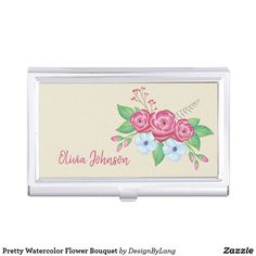 Pretty Watercolor Flower Bouquet Business Card Case Business Card Case, Business Cards, Office Essentials, Watercolor Flowers, Your Cards, Keep It Cleaner, Holiday Cards, Bouquet, Pretty