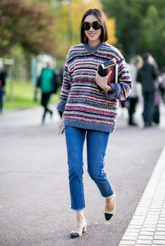 Instagram's Eva Chen in Topshop jeans and Chanel slingbacks. Photo: Imaxtree.