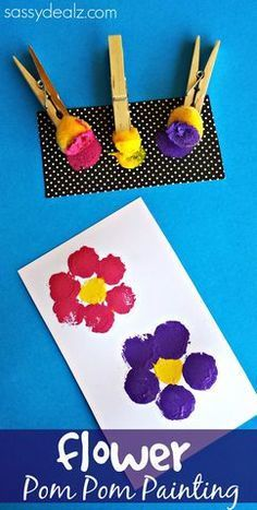 Flower Pom Pom Painting Crafts for Kids # Spring Art Project # Mother's Day Card Idea - Crafts for Kids Spring Art Projects, Projects For Kids, Art Project For Kids, Mother's Day Projects, Craft Projects, Summer Crafts For Toddlers, Kids Diy, Spring Toddler Crafts, Spring Crafts For Preschoolers