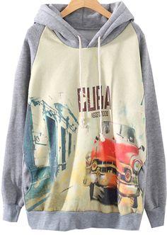 Grey Hooded Long Sleeve Car Print Sweatshirt - abaday.com