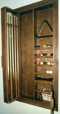 Recessed Pool Cue Cabinet Made Out Of Birch In 2019