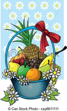 A beautiful fruit basket of wicker with a fruit selection. Drawing For Beginners, Drawing For Kids, Painting For Kids, Art For Kids, Children Painting, Colorful Drawings, My Drawings, Fruit Basket Drawing, Beautiful Fruits