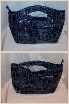 "15"" long X 15"" High Blue Crocodile Patent Bag Zippered Closure.  Starting bid $20"