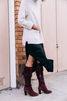 How to layer for colder temps: midi dress with side slit, OTK boots and a chunky turtleneck sweater. #OOTD