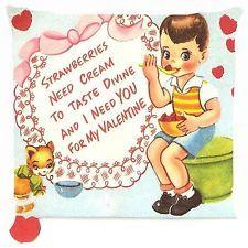 Retro vintage boy strawberry ice cream sweet love cat Cushion Cover Throw Pillow
