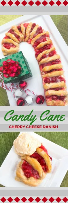 Looking for a Christmas dessert or breakfast idea? Try this easy candy cane cherry cheese danish recipe with crescent rolls and cream cheese. SO good and festive for your holiday meal.