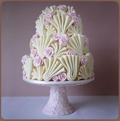 Beautiful Cake Pictures: Beautiful Cream and Pale Pink Swirly Cake - Elegant Cakes, Wedding Cakes - Pretty Wedding Cakes, Pretty Cakes, Cute Cakes, Unique Cakes, Elegant Cakes, Creative Cakes, Take The Cake, Love Cake, Gorgeous Cakes