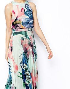 ASOS Pleated Crop Top Maxi Dress