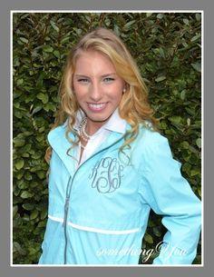 Something You - Aqua Blue Monogrammed Rain Coat - Personalized Rain Jacket, $59.95 (http://www.somethingyou.com/clothing/raincoats/aqua-blue-monogrammed-rain-coat-personalized-rain-jacket/)