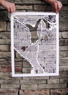 Map of #Seattle- possibly cameo cut? Use for friends in different cities or their home town :)