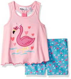 Kids Headquarters Little Girls' Pink Jersey Top and Printed Twill Shorts, 5. Jersey top. Shorts.