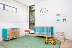 ella+elliot for Nexterra 01 | Flickr - Photo Sharing! Kalon Studios Caravan Crib and Caravan Dresser. Eames Rocker, Artecnica Themnis mobiles, and art by Avalisa.