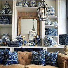 @portobellohome #interiordesign #blueandwhite #gingerjar #textiles #brass #portobellohome #inspire