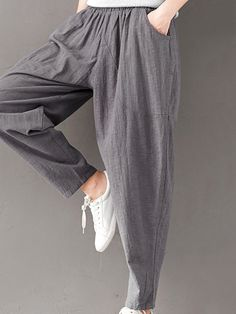 43e99c83423d5 Casual Solid Color Elastic Waist Full Length Women Harem Pants is necessary  for cold weather
