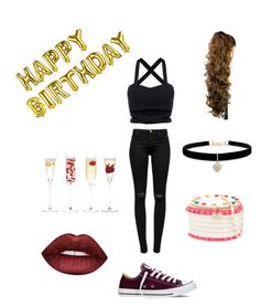"""""""Birthday outfit X"""" by nicolebobbi on Polyvore featuring J Brand, Converse, Betsey Johnson, LSA International and Lime Crime"""