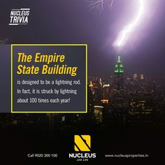 The Empire State Building is designed to be a lightning rod. In fact, it is struck by lightning about 100 times each year! #Trivia  #Kerala #Kochi #India #Architecture #Home #Construction #City #Elegance #Environment #Elegant #Building #Beauty #Beautiful #Exquisite #Interior #Design #Comfort #Luxury #Life #Living #Gorgeous #Style #LifeStyle #RealEstate #Nature #View #Atmosphere #Apartment #Villa