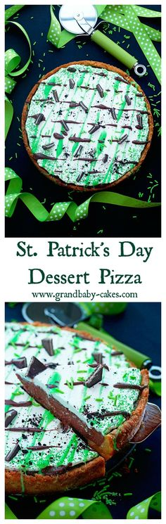 St. Patrick's Day Dessert Pizza filled with chocolate mousse, whipped cream and Bailey's Irish Creamer ~ http://www.grandbaby-cakes.com