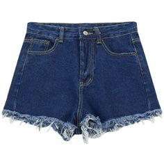 Chicnova Fashion Denim Short in Dark Wash Blue ($13) ❤ liked on Polyvore featuring shorts, high-waisted shorts, pocket shorts, high waisted shorts, jean shorts and blue jean shorts