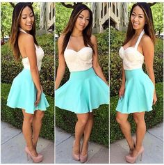 Floaty skirt and white cropped top