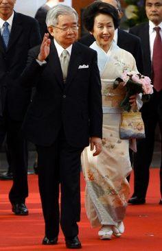 Prince Masahito Hitachi of Japan and his wife Princess Hanako Hitachi arrive at the exhibition Kyoto-Tokyo from Samurais to Mangas at the Grimaldi Forum in Monaco, 13 July 2010