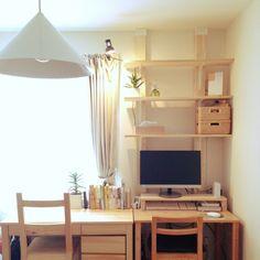lionさんの、机,観葉植物,無印良品,IKEA,DIY,多肉植物,ディアウォール,賃貸アパート,不夜城,のお部屋写真