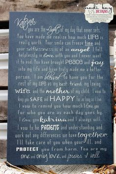 Personalized Wedding Vows on Canvas, Vows Typography, Wedding Vow Art Father of the Bride Mother of the Bride Vows on Canvas Art His and Her