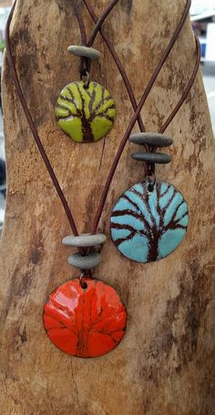 Items similar to tree of life pendant necklace enamel jewelry sgraffito enamel tree enamel tree necklace nature lovers jewelry tree lovers necklace on Etsy Ceramic Pendant, Ceramic Jewelry, Enamel Jewelry, Ceramic Beads, Polymer Clay Jewelry, Silver Jewellery, Sgraffito, Jewelry Tree, Diy Jewelry
