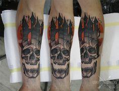 Lukas Zglenicki- Cykada Sopot #tattoo #skull #castle