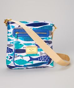 Take a look at the Sam & Hadley Blue & White Holy Mackerel Crossbody Bag on #zulily today!