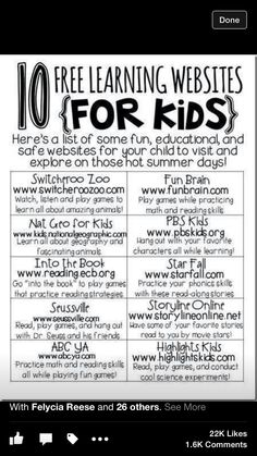 PTO This Sheet Gives Multiple Websites That Students Can Visit Over The Year Or During Summer To Practice Skills In Each Subject