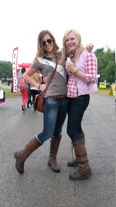 Having fun in the torrential rain! Libby Kennedy and Emma Holgate - both from North London - were enjoying themselves despite the weather... and were living proof that Dubarry boots look great and keep your feet dry. We love your 'Dubes', ladies, and we love your style! Dubarry Boots, Boots Style, Living Proof, North London, Barbour, Good Old, Well Dressed, Fashion Boots, Dapper