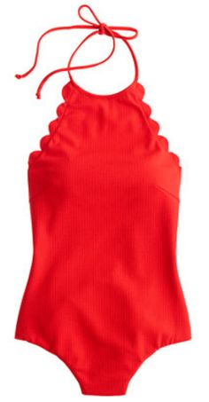 Scalloped halter neck one piece in fire engine red