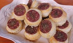 Makes about 20 Ingredients 1 x roll ready-made puff pastry 1 small salami, thinly sliced Garlic and herb seasoning Method Preheat the oven to Savory Snacks, Savoury Dishes, Cheesecake, Oven, Rolls, Cooking Recipes, Baking, Eat, Wheels